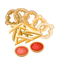 A Pile of French Fries and Onion Ring vector