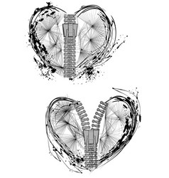 Abstract hearts with zipper vector