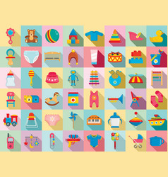 baby items icon set flat style vector image