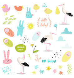baby shower decorative elements set with stork vector image