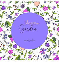 beautiful floral pattern label vector image