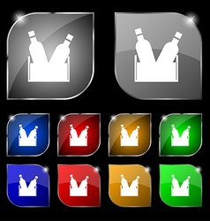 Beer bottle icon sign Set of ten colorful buttons vector image