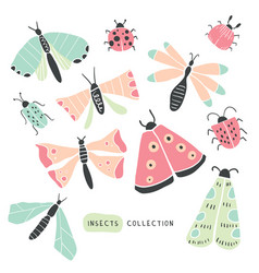 big colorful hand drawn doodle set - insects bugs vector image