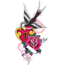 bird and heart ribbon emblem vector image