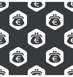 Black hexagon euro purse pattern vector
