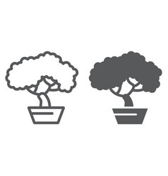 bonsai line and glyph icon asian and plant tree vector image