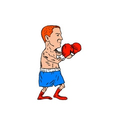 Boxer Fighting Stance Cartoon vector