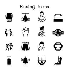 boxing icon set graphic design vector image