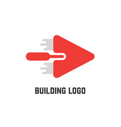 Building logo with red trowel vector