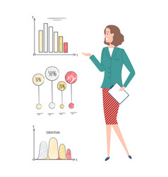 business seminar woman with presentation vector image