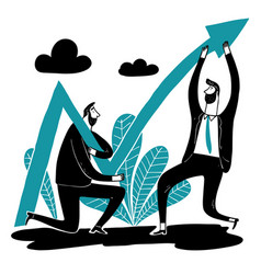 business team help lift the arrow of the stock vector image