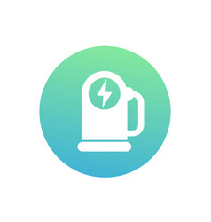 car charging station round icon on white vector image