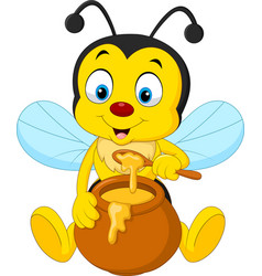 cartoon bee with honey pot vector image