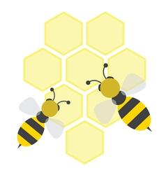 Cartoon bees on honeycells vector