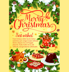 Christmas dinner banner with xmas cuisine dishes vector