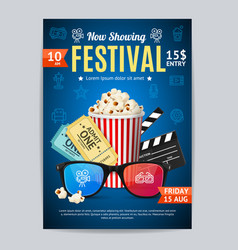 cinema movie festival poster card template vector image