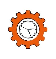 Clock with gear piece vector
