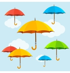 colorful umbrellas fly background Flat vector image