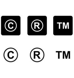 copyright trademark icons set vector image