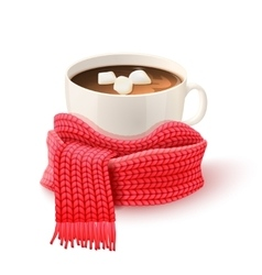 Cup Chocolate With Knitted Scarf Print vector