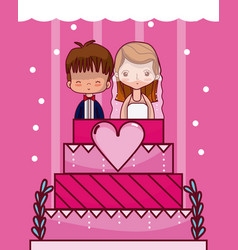 cute and delicious wedding cake vector image