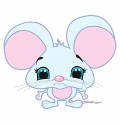 Cute sad mouse vector