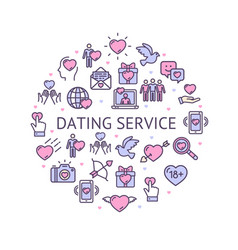 dating service round design template contour lines vector image