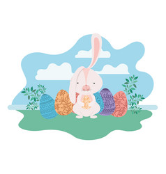 easter rabbits on landscape with egg icon vector image