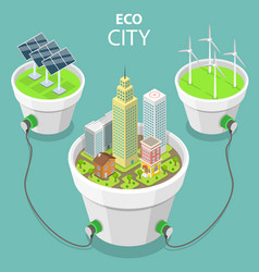 eco city flat isometric concept vector image