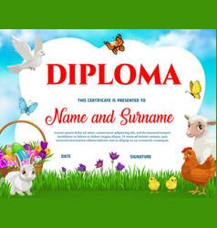 Education school diploma easter animals vector