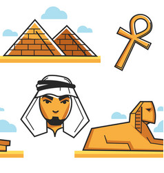 egypt pyramid and sphinx bedouin and coptic cross vector image