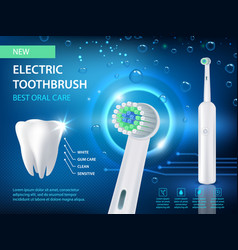 electric toothbrush ad realistic vector image