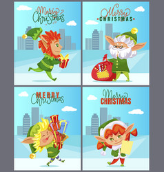 elves and christmas gifts xmas greeting cards vector image
