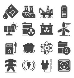 energy related gray icons power icon set vector image
