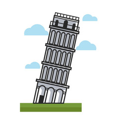 Famous inclined pisa tower as main attraction of vector