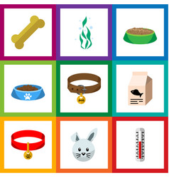 flat icon animal set of cat eating hound necklac vector image