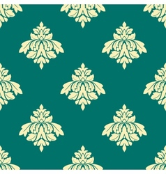 Floral beige damask seamless pattern on green vector image