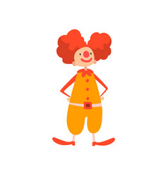 funny clown performing in circus show cartoon vector image