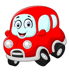 Funny red car vector image vector image