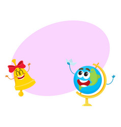 funny smiling globe and bell characters back to vector image