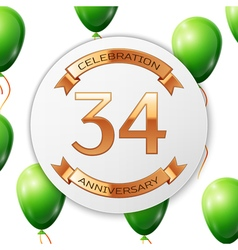 Golden number thirty four years anniversary vector image