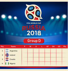 Group d qualifier table russia 2018 world cup vect vector