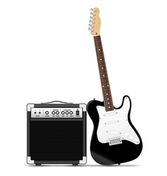 Guitar with amp vector