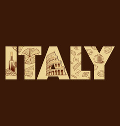hand drawn italy pizza pisa tower colloseum roma vector image