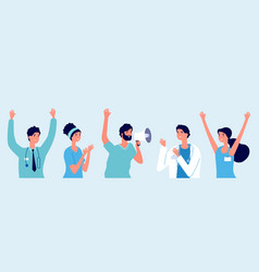 Happy doctors latest medical news good vector