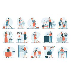 housework set isolated collection women vector image