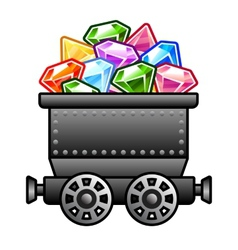 Iron mine cart with diamonds vector