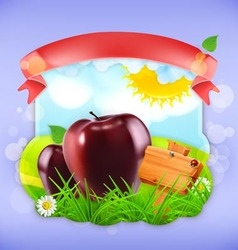 Juicy apples label design vector