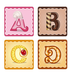 Letters abcd candies vector