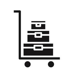 Luggage trolley icon vector